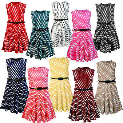 New Girls Kids Polka Dot Spot Skater Dresses with Patent Belt CHILDREN