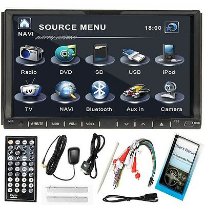 """Double 2 Din HD 7""""Touch Screen Car DVD Player GPS SAT Nav Stereo Radio FM iPod"""