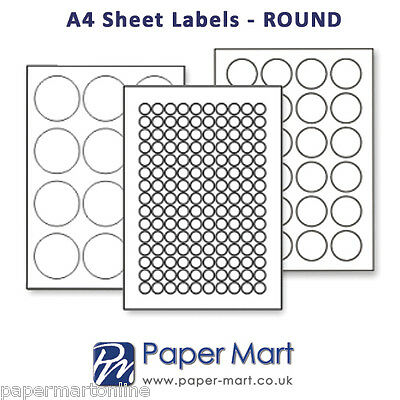 20mm Round CLEAR Labels on A4 Sheets - Labels Stickers for Laser Inkjet Printers