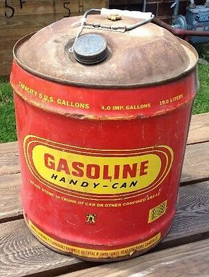 Vtg Liberty Gasoline 5 GALLON Metal Gas Vented Red Yellow Rare Handy Can Prop ZQ