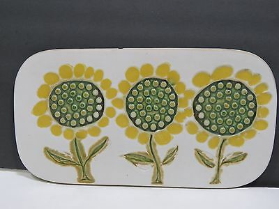 Bennington Potters Pottery Mid Century Wall Hanging Trivet Flowers Vermont Gill