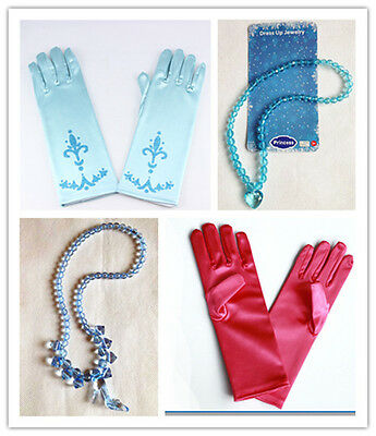 Frozen Princess Elsa Anna Gloves Necklace Cinderella Crown Magic Wand