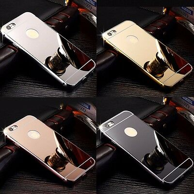Luxury Aluminum Ultra-thin Metal Bumper Mirror Back Case Cover For iPhone 5SE 6