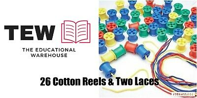 Cotton Reels (26) with 2 Laces Maths Threading Teacher Resource Fine Motor Toy