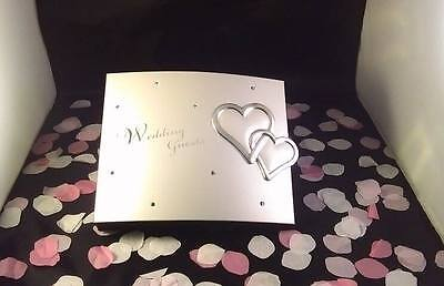Wedding Guest Book Ft Polished Silver Cover 2 3D Love Hearts & Diamante Detail