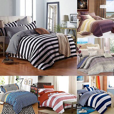 Striped Duvet Cover Zippered + Pillow Cases Bedding Set Single Double King Size