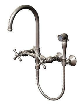Rubinet 8XFMCAC Wall Mounted Bridge Kitchen Faucet W/ Hand Spray, Antique Copper