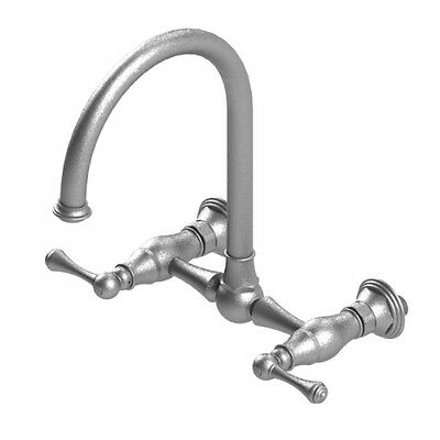 Rubinet 8WFMLAB Wall Mounted Bridge Kitchen Faucet, Antique Brass