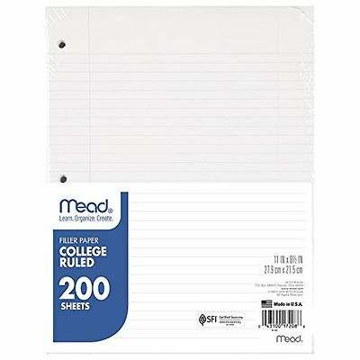 Mead Filler Paper, Loose Leaf Paper, College Ruled, 200 Sheets/Pack (17208)