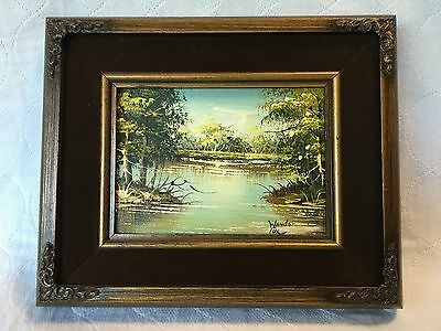 Vtg Canvas Painting Landscape Water Trees Wanda Cox '75 Wood Frame