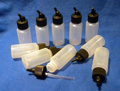 10 Plastic Airbrush Bottles 1oz for Iwata Paasche Badger BD04