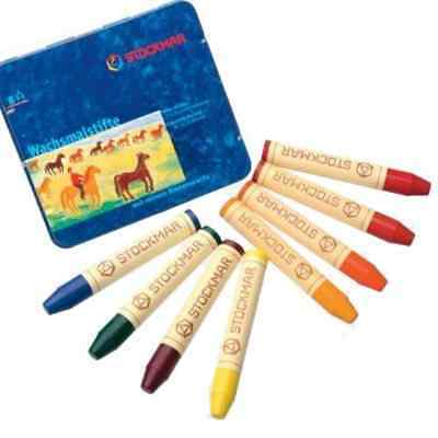 Stockmar Beeswax Stick Crayons in Storage Tin, Set of 8 Colors, Waldorf