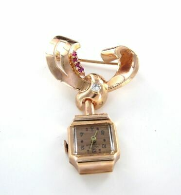 14Kt Rose Gold Pin Watch Brooch Antique Diamond Ruby Lathin Vintage 014202103