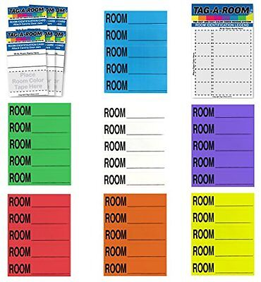 Tag-A-Room Color Coded Home Moving Box Labels Blank Customizable with Door IDs,