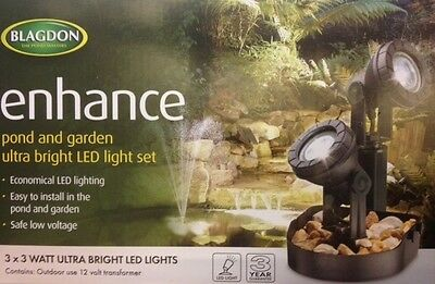 Blagdon Enhance Pond/Garden LED 3 Light Set.Free 48Hr Parcelforce!!