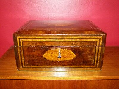 Antique Regency Period Large Burl Walnut Jewellery Box - with Satinwood Inlay