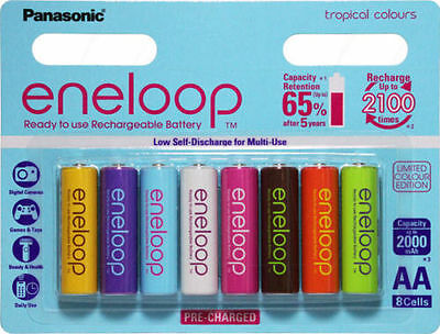 8x Panasonic Eneloop rechargeable AA battery pack 2000MAH TROPICAL LSD NIMH