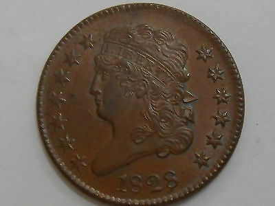 Coinhunters - 1828 Classic Head Half Cent, 13 Stars-Almost Uncirculated, Details