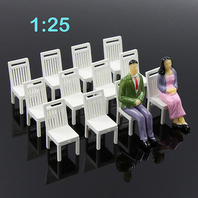 ZY17025 12pcs Model Train Railway Leisure Chair Settee Bench Scenery 1:25  Scale