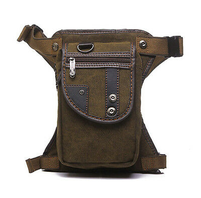 Men's Canvas Waist Leg Bag Motorcycle Riding Tactical Military Belt Fanny Pack