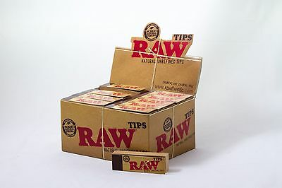 Full Box (50) RAW Rolling Papers Slim Filter Tips UNREFINED Classic Natural King