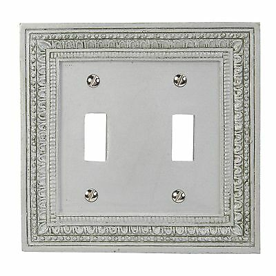 Amerelle AmerTac 8330TTFT Filigree Border Resin Double Toggle Wallplate Satin...