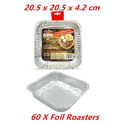 60 X Square Foil Containers - Party, Kitchen, Restaurant, Wedding, Event