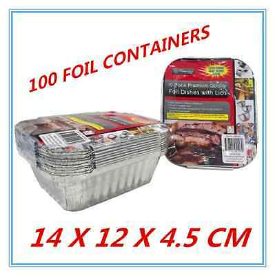 100 X Foil Containers With Lid - Birthday Party, Wedding, Event, Restaurant