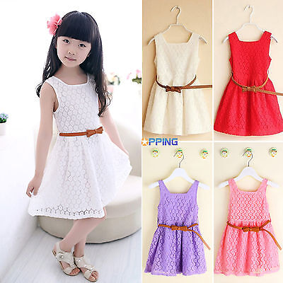 Toddler Kids Girls Summer Lace Crochet Princess Party Wedding Tutu Dresses 2-8Y