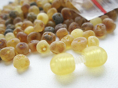 Real Raw Baltic Amber Holed Loose Round Beads + 1 Plastic Screw Clasps
