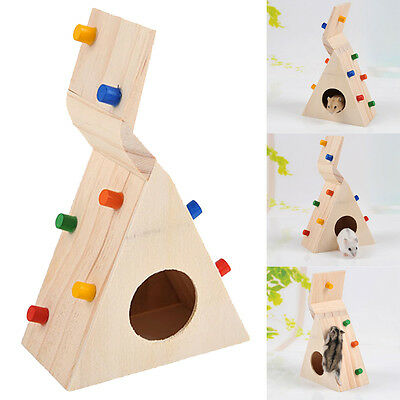 Natural Wood Colorful Scaling Cage House Hide Play Toy Ladder Hamster Rat Mouse