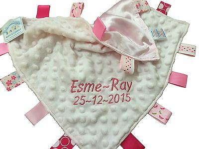 Personalised Taggy Comfort Blanket - Pink or Blue