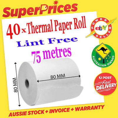 40 x Thermal Printer Roll◉80 x 80mm◉POS Cash Register Receipt Docket Tally Paper