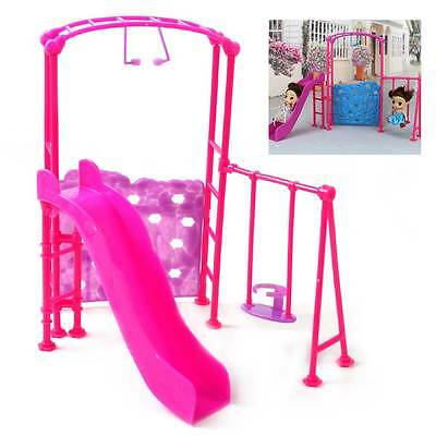 Pink Playground Playset Slides Climber for Barbie Kelly Dolls House Miniature