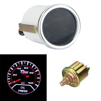 "Universal 2"" 52mm Auto Car Oil Pressure Gauge Meter Smoke Lens Pointer LED R3X8"