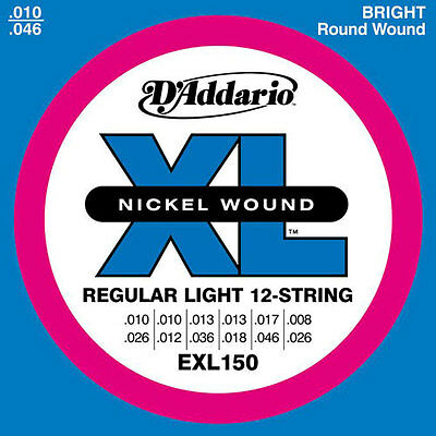 D'Addario Jeu de Cordes électrique EXL150 12 cordes Regular-light 10-46 filé ron