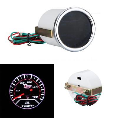 "Universal 2"" 52mm LED Car Oil Temp Gauge Meter Smoke Lens Indicator + Sensor"