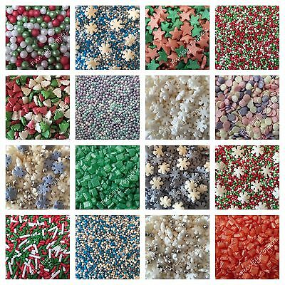 CHRISTMAS Edible Sugar Cupcake Sprinkles Cake Decoration 100 & 1000's Nonpareils