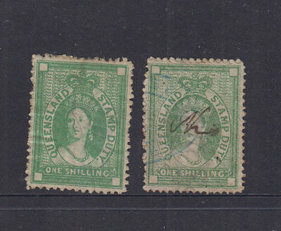 QUEENSLAND 1872 1/- Green QV Stamp Duty REVENUE p13 and p12-Elsmore cat $20 (2)
