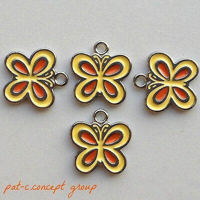 Metal Butterfly Icon/Ornament in Yellow/Orange Color Paint for Tree & Home Decor