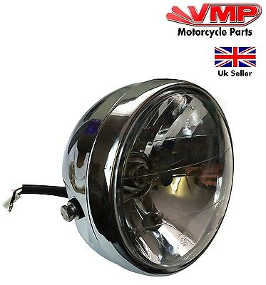 "Cafe Racer Brat Scrambler Motorcycle Headlight Chrome Steel 12V 35W 5.8"" H4"