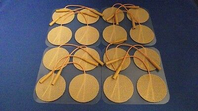 16 Replacement Electrode Pads for Massagers /Tens Units 2 inch Round Tan Cloth