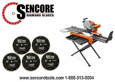"Husqvarna TS-60 Tile Saw (Stand Included) + 5pk  10"" Shark Diamond Tile Blade"
