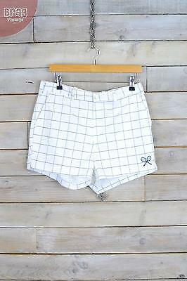 Vintage White & Blue Criss Cross Patterned Tennis Sports Shorts (W32) (12/14)