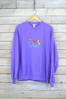 Vintage Purple Winnie The Pooh & Tigger ''Bounce'' Embroidered Sweater (XL)
