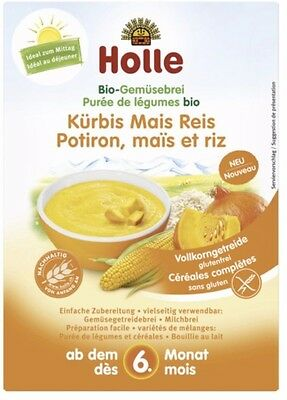 Holle Organic Vegetable Porridge Pumpkin, Maize, Rice 175g NEW FREE SHIPPING