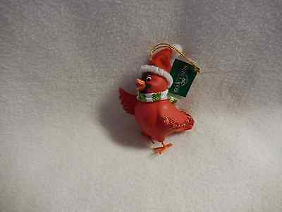 Christmas 4''inch Resin Whimsical Cardinal Bird Full Round Ornament-New