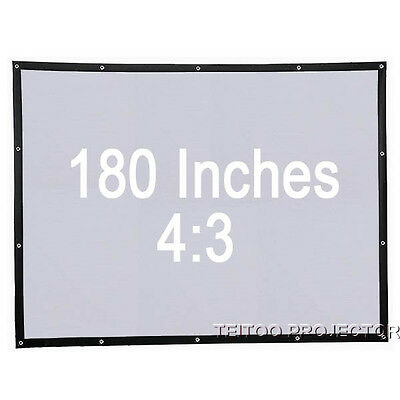 """180"""" 4:3 Projection Screen Curtains for Smart 1080P Digital Movie Projector TV"""