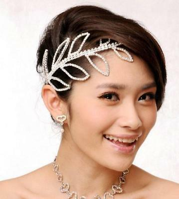 Bridal Bridesmaid Wedding Crystal LEAF Crown Headband Tiara Headpiece