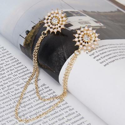 Pearls Flower Gold Tassel Chain Shirt Collar Neck Tips Brooch Pin